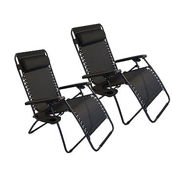 FCH 2 plegable ajustable Zero Gravity sillas reclinable salón Patio piscina al aire libre para playa Patio silla con portavasos/bandeja de utilidad (negro): ...