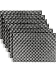 placematshomcomoda washable place mats non slip heat insulation kitchen table mats set of 6grey - Kitchen Table Mats