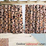 SEMZUXCVO Drape for Pergola Curtain Rustic Home Decor Mass of Wood Log Forest Tree Industry Group of Cut Lumber Circle Stack Image Simple Stylish W55 x L39 Cream