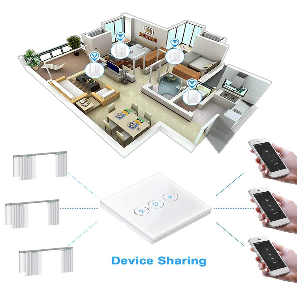 Rolladen Zeitschaltuhr, Jalousien Schalter Wifi Kompatibel mit Alexa und Google Assistant, Jalousien Schalter mit Touch Panel, App Fernbedienung und Zeitplan Funktion, Nullleiter Erforderlich