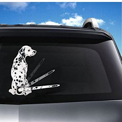 Vylymuses 3d car rear window decals for dalmatian dogtancredy car stickers cartoon funny moving