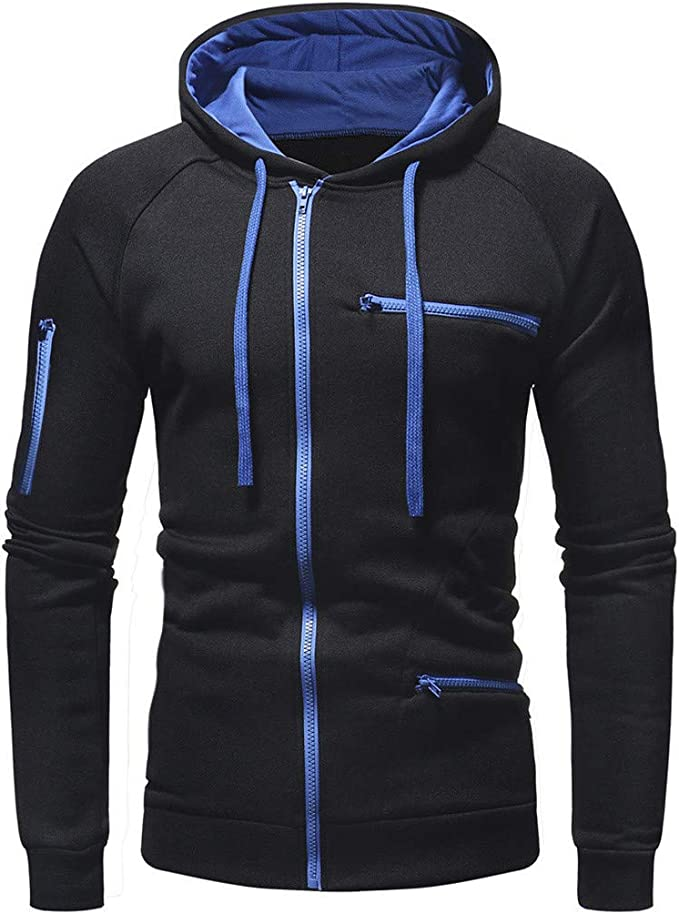 Katesid Autumn Winter Mens Long Sleeve Hoodie Sweatshirt Tops Pullover Jacket Coat Outwear