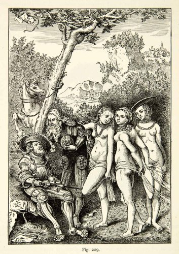 1888 Print Judgment Paris Nude Women Medieval Lucas Cranach Animal Horse Breasts - Relief Line-block Print from PeriodPaper LLC-Collectible Original Print Archive
