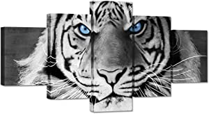 iHAPPYWALL Large 5 Pieces Animal Canvas Wall Art Tiger Face Blue Eyes Black and White Wildlife Picture Print on Canvas Stretched and Framed for Modern Home Living Room Decoration Ready to Hang