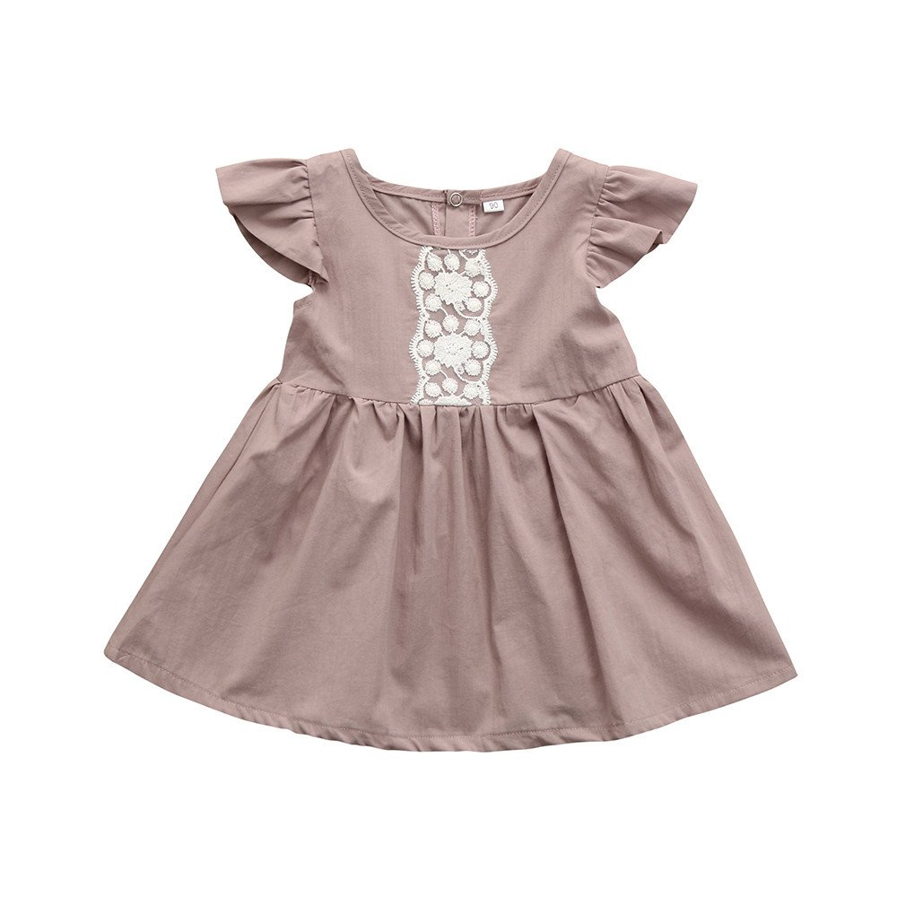 Newborn Baby Girls Pink Lace Ruffles Sleeve Princess Dress Outfits Clothes Yeefant