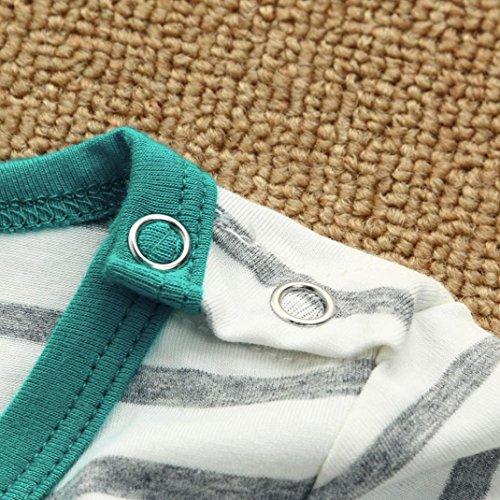Summer Baby Girls Boys Clothes Stripe Short Sleeve Jumpsuit Hat 2PCS Set Outfits