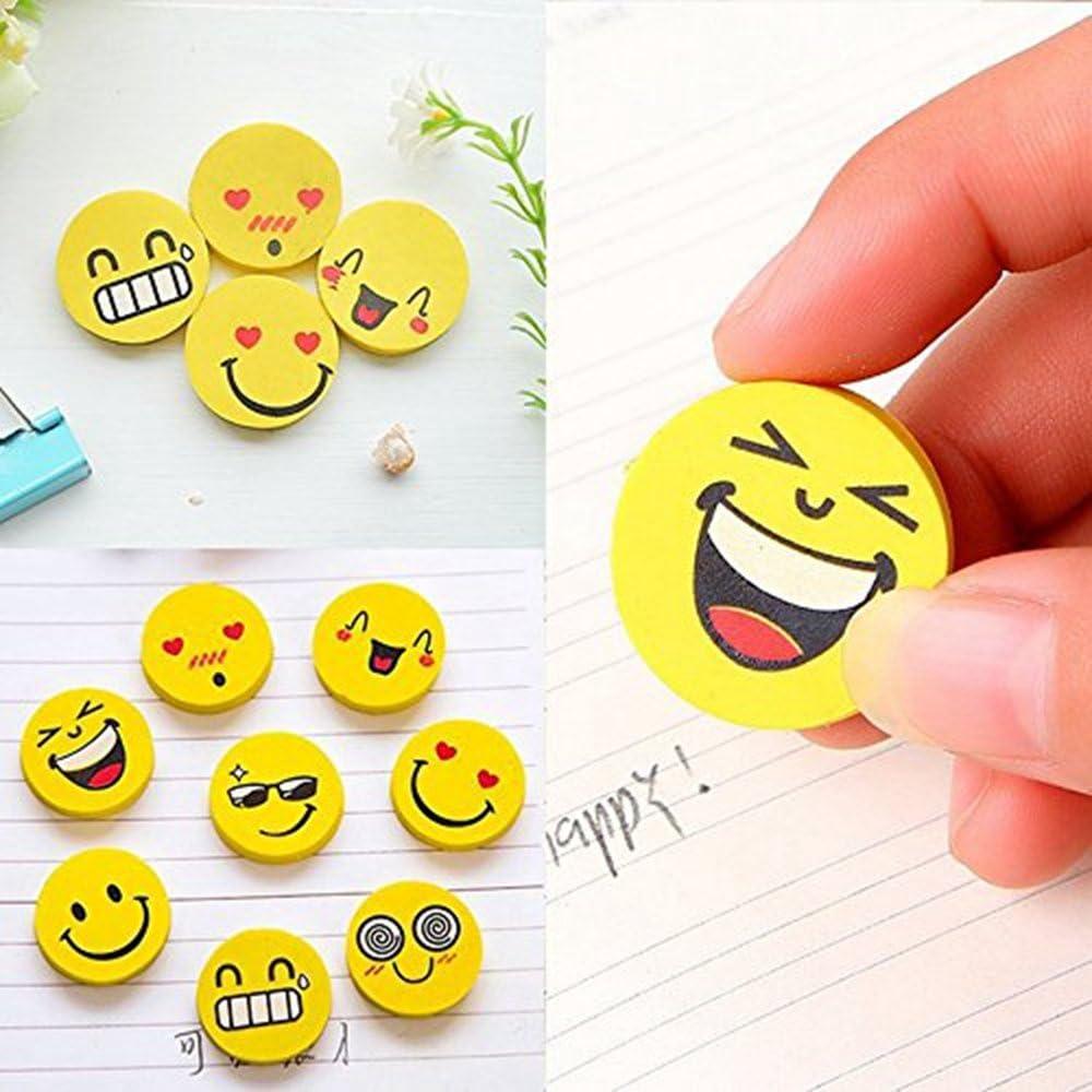 DORABO Round Smiley Eraser Faces Creative Stationery Cute