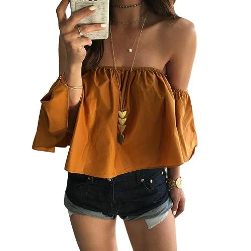 Rawdah Mujeres Verano de blusa de la tapa del hombro Top Casual (S, Amarillo)