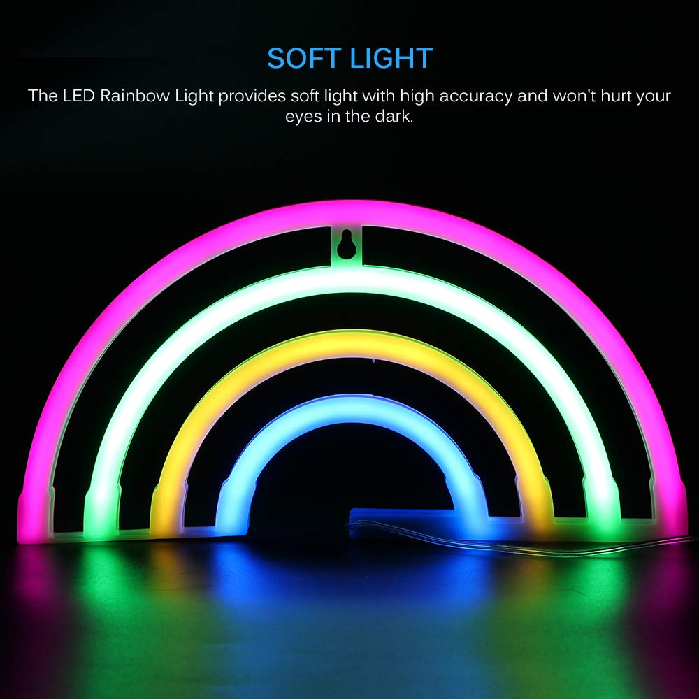 luci notturne colorate Luce al muro arcobaleno Batteria USB funzionante Insegne al neon arcobaleno per decorazione camera da letto camera da letto Luci al neon arcobaleno
