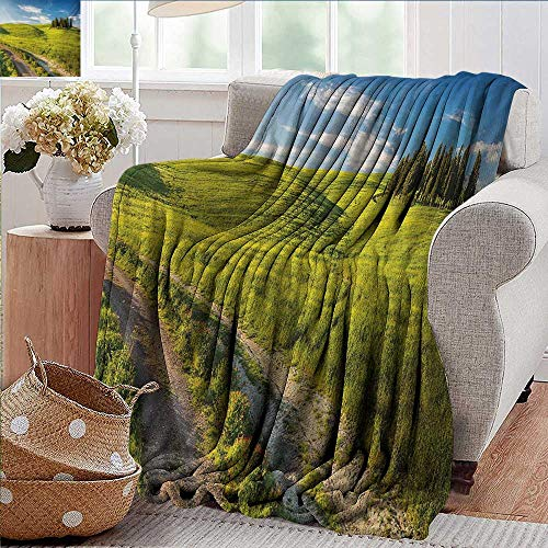 (PearlRolan Ultra Soft Flannel Blanket,Tuscany,Tuscany Italy Getaway Dreamland Cultivated Land Wildflowers Springtime,Sky Blue Fern Green,Lightweight Microfiber,All Season for Couch or Bed 50