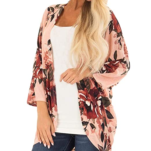 a2ee6bffa5641 XUANOU Women Floral Print Cover Blouse Long Sleeve Smock Tops Coat Chiffon  Printed Loose Cardigan Sunscreen Blouse at Amazon Women s Clothing store