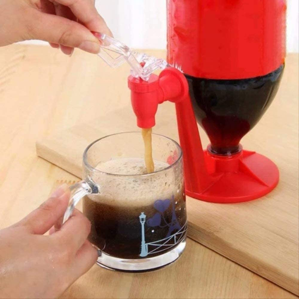 Waymeduo caf/é Excellente id/ée pour un outil de cuisine cr/éatif pour la f/ête /à la maison Rouge Profitez de jus de boisson Distributeur de soda /à lenvers boissons gazeuses et gardez le soda
