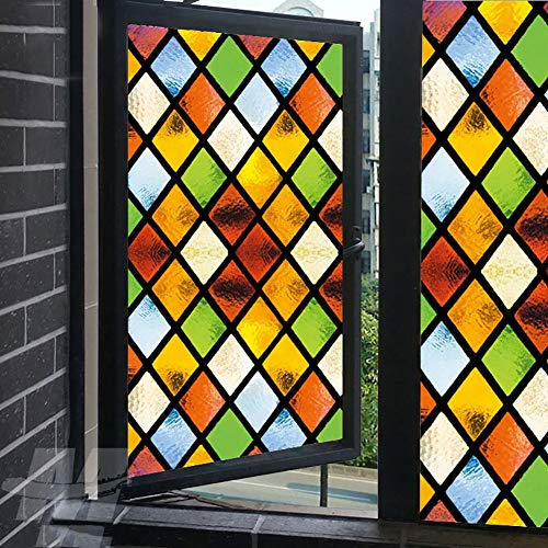 XXRBB Frosted Stained Glass Window Film,Bathroom Sticker Opaque Privacy Self-Adhesive Glass Film,for Livingroom Kitchen Rental Apartment,90x200cm(35x79inch)