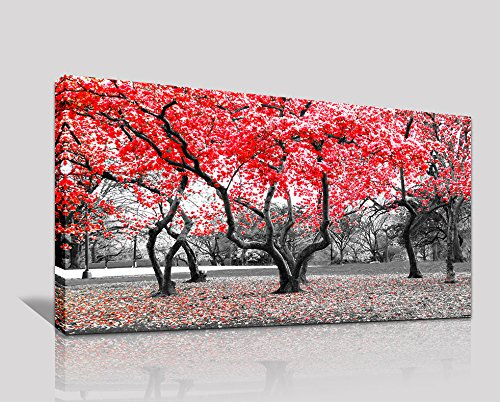 canvas wall art Modern Canvas Painting Wall Art The Picture For Home Decoration Black White and Red Tree Landscape Print On Canvas Giclee Artwork For Wall Decor (Artwork Wall)