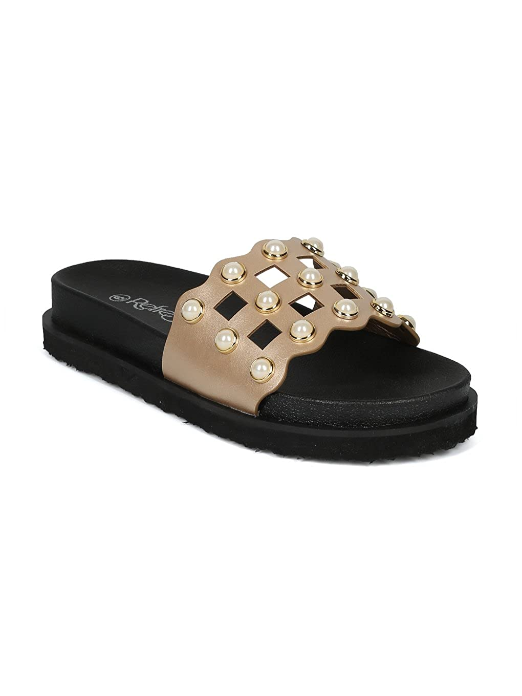 Alrisco Women Leatherette Faux Pearl Studded Caged Footbed Slide HG31