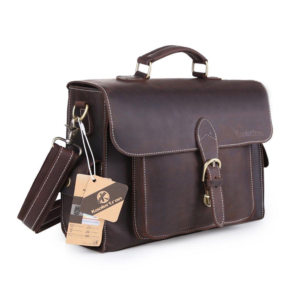 Koolertron Genuine Leather Camera Bag Vintage Business Cowhide Messenger Briefcase Shoulder Bag Handbag