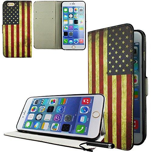 Ownstyle4you - APPLE IPHONE 6S PLUS Etui Wallet Coque Housse PREMIUM Portefeuille Eco Cuir Side USA Protection Pare-Chocs Goutte Absorption des Chocs + Protecteur d'écran tactile