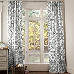 Carousel Designs Gray Traditions Damask Drape Panel 64-Inch Length Standard Lining 42-Inch Width