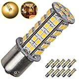 10 X Warm White 1156 RV Camper Trailer 68-SMD LED 1141 1003 Interior Light Bulbs (10-Pack, Warm White)