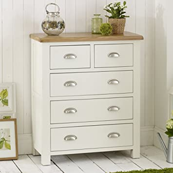 Cotswold Cream Painted 2 Over 3 Drawer Chest Of Drawer With Oak Top:  Amazon.co.uk: Kitchen U0026 Home