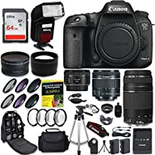 Canon EOS 7D Mark II Digital SLR Camera QUINTUPLE Lens PRO Bundle + Canon EF-S 18-55mm + Canon EF 75-300mm Lens + Canon EF 50mm f 1.8 STM Lens + 0.43 Wide Angle & 2.2 Telephoto Lens + CW Kit