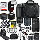 Cheap Canon EOS 7D Mark II Digital SLR Camera QUINTUPLE Lens PRO Bundle + Canon EF-S 18-55mm + Canon EF 75-300mm Lens + Canon EF 50mm f 1.8 STM Lens + 0.43 Wide Angle & 2.2 Telephoto Lens + CW Kit