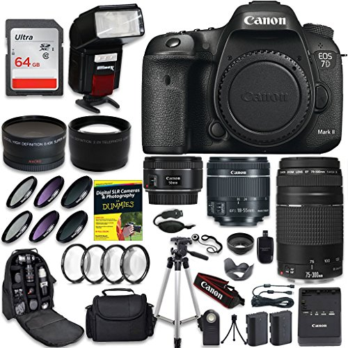 Canon EOS 7D Mark II Digital SLR Camera QUINTUPLE Lens PRO Bundle + Canon EF-S 18-55mm + Canon EF 75-300mm Lens + Canon EF 50mm f 1.8 STM Lens + 0.43 Wide Angle & 2.2 Telephoto Lens + CW Kit
