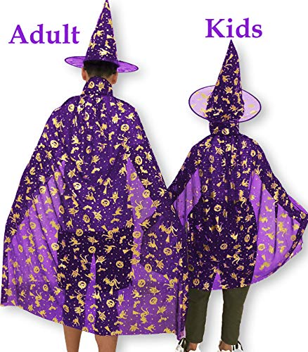 Halloween Decoration Girls Women Boys Adults Witch Wizard Cosplay Cape Role Play Dress up Cloak with Pointed Hat