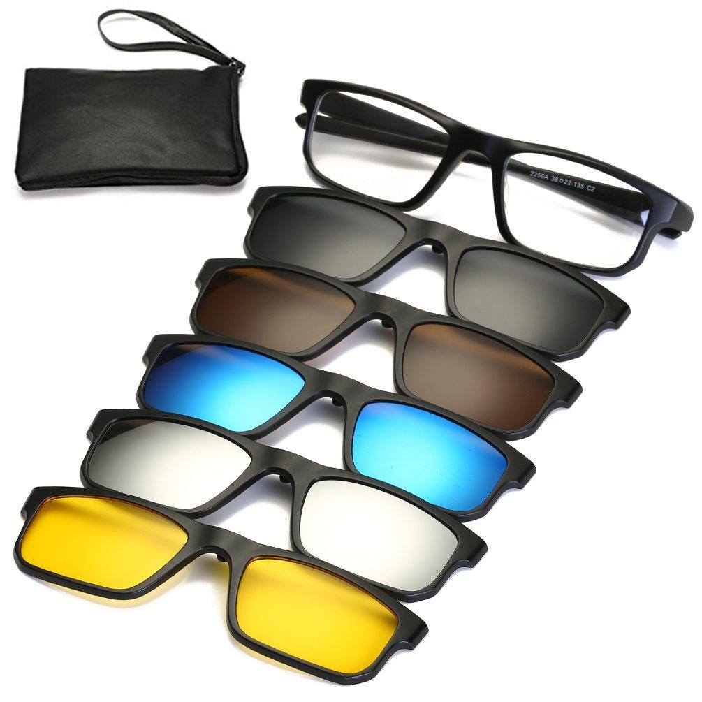 2fb1813e1b9c Galleon - Magnetic Sunglasses Clip On Glasses Unisex Polarized Lenses TR90  Frame With 5 Lenses (2258