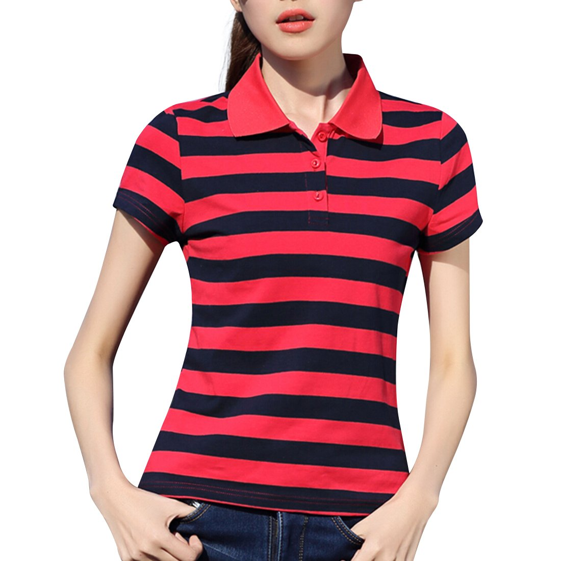 AEROBIC Womens Sport Polo Shirt Summer Casual Short Stripe Tennis Shirt