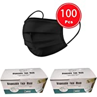 100 pcs Disposable three Layer Face Protection Surgical Hygiene Dental Dust Smog Cleaning (Black 100pcs)