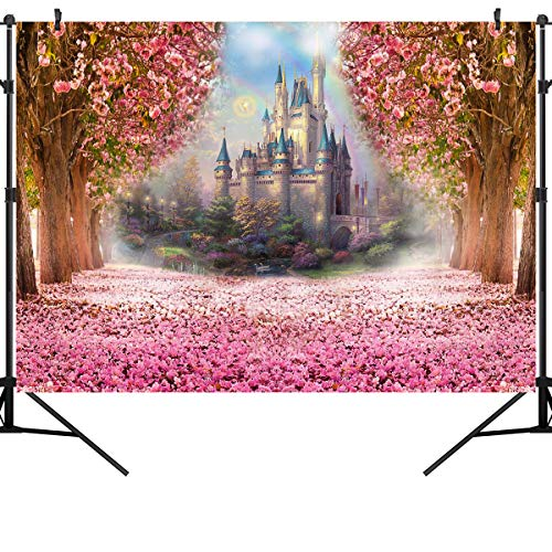 OUYIDA 7X5Ft Castle in Cherry Blossom CP Pictorial Cloth Photography Background Computer-Printed Vinyl Backdrop PCK01 -