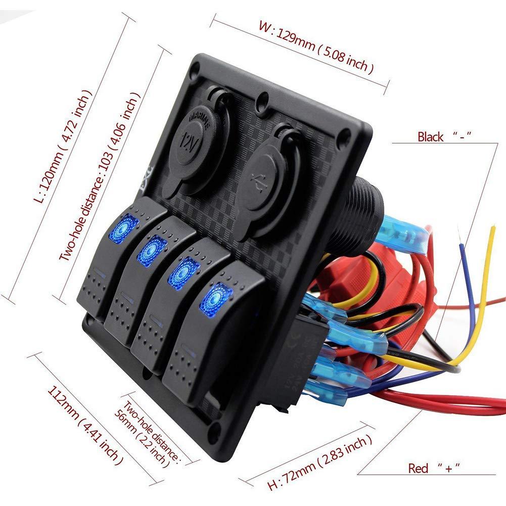 para coche Bostar Interruptor basculante con 4 interruptores de 12 V doble carga USB barco mar azul impermeable