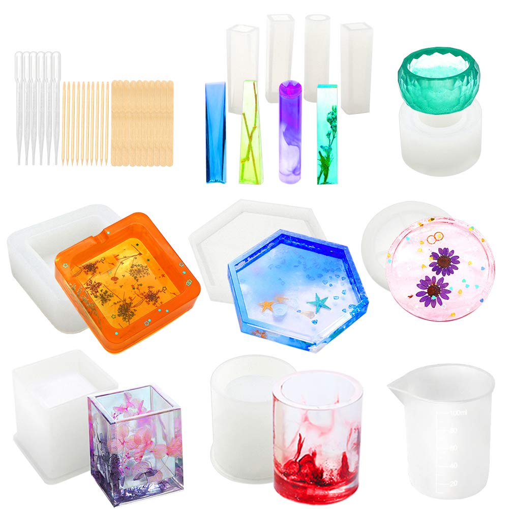 Resin Molds, WEST BAY 37Pcs Silicone Molds Resin Epoxy Resin Casting Art Molds for DIY Cup Pen Soap Candle Holder Ashtray Flower Pot Coaster Pendant Cylinder Cuboid Hexagon Molds