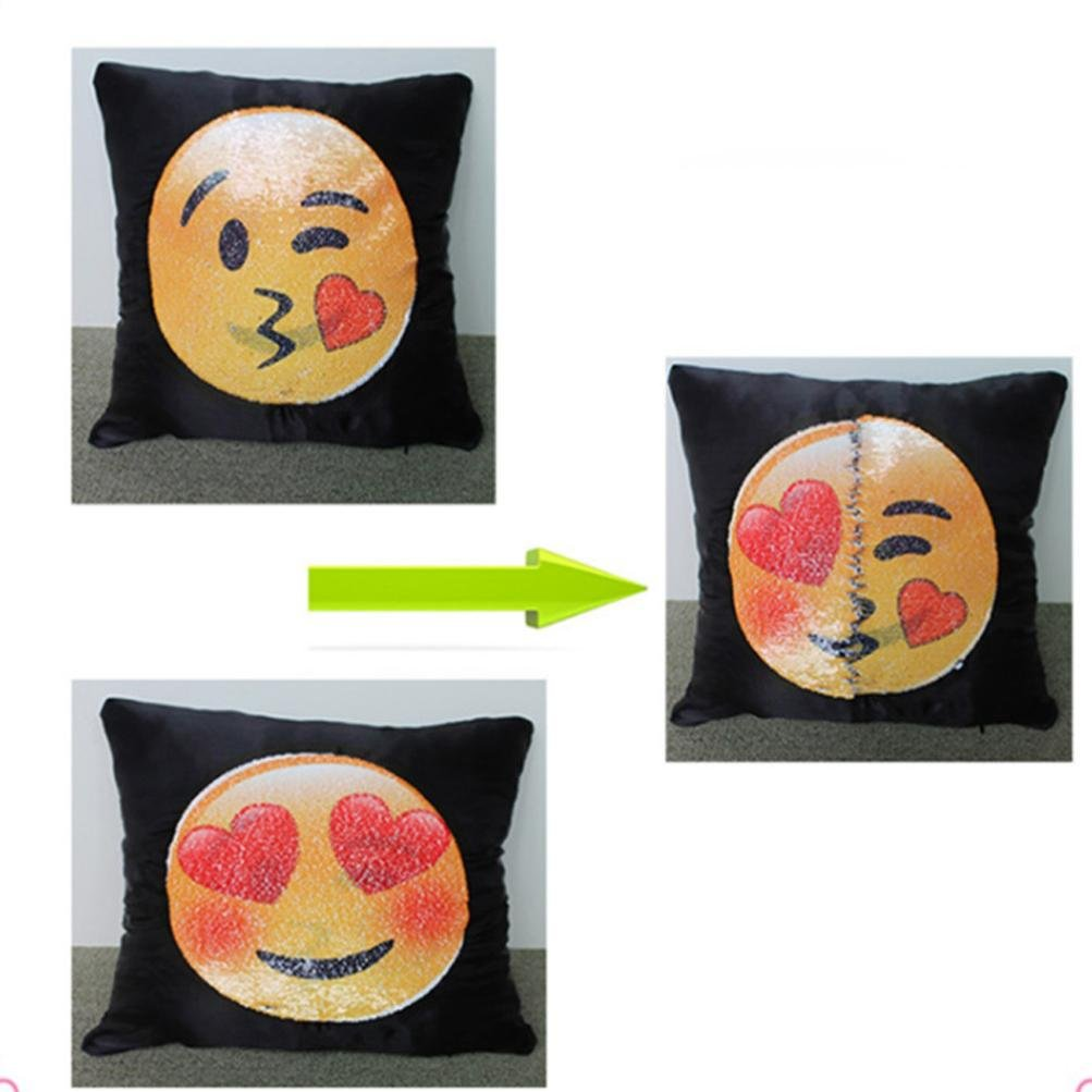 D Fun Emoji Face Sequins Pillow Case,Naladoo Adorable Two Sides Two Moods Pillow Cover Case Cafe Home Decor Cushion New 16 X 16