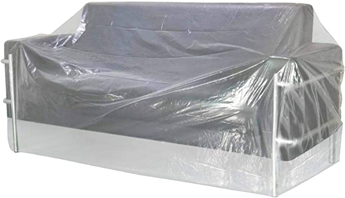 AKEfit Plastic Thicker Sofa Couch Cover,Patio Sectional Couch Slipover,Waterproof Outdoor Clear Furniture Protective Cover,Perfect for Storage & Moving for Long Storage 92
