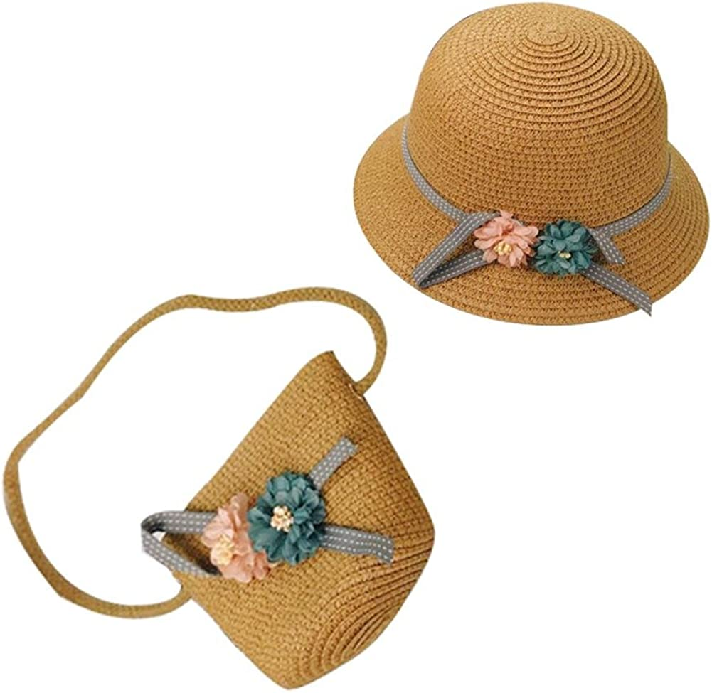 iShine Childrens Straw Hat and Straw Bag for Little Girl Summer Beach Vacation