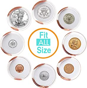 AukeyStar Round Clear Plastic Coin Holders Collectors Storage Capsules 16mm-40mm Adjustable Inner Diameter Fit All USA Coin-Cent/5 Cent/Dime/Quarter/Half Dollar/Dollar, 5 Types Mixed, 50 Pack Totally