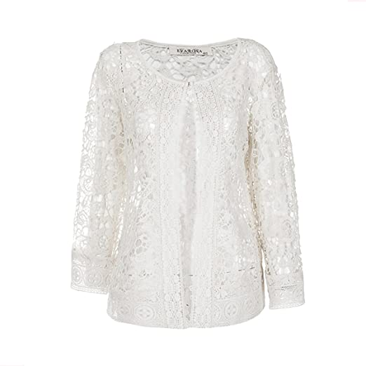 Image Unavailable. Image not available for. Color  ZG DD Women s Summer Fashion  See Through Lace Open Front Shawl Cardigan White ba13a94f6