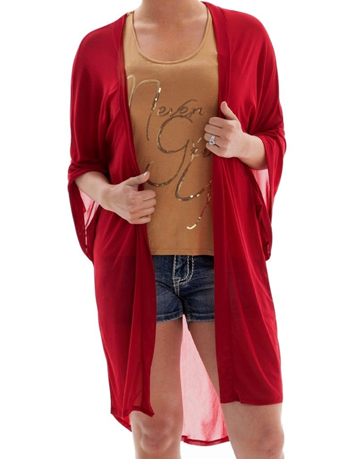 Cowgirl Tuff Co. Womens Ladies Red Sheer Short Sleeve Cardigan