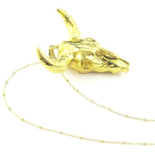 Oro cubiertos ganado calavera colgante collar, longhorn collar, chapado en oro cadena de collar de plata de ley: Amazon.es: Joyería