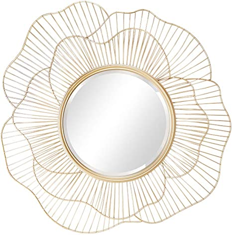 Amazon Com Zenggp Sun Flower Mirror Wall Art Abstract Modern Designed Sunflower Petal Iron Decorative Wall Mirror For Living Room Home Kitchen