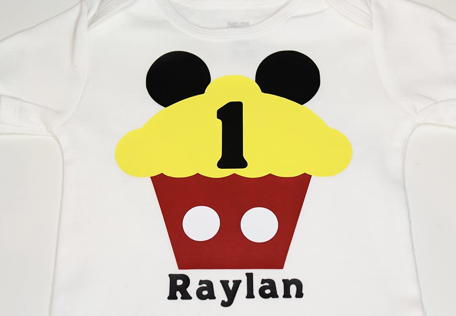 76b09d765 Amazon.com: Mickey Mouse First 1st Birthday bodysuit Cupcake 1 One Mickey  Mouse With Name: Handmade