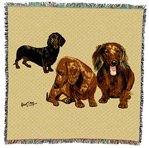 Pure Country Weavers - Dachshund Puppies Dog Woven Blanket with Fringe Cotton USA 54x54