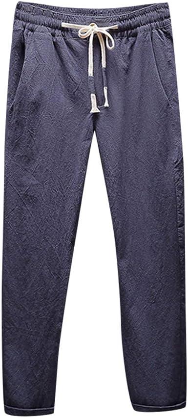 MXJEEIO Pantalones Hombre Verano Color sólido Pantalones de Lino ...