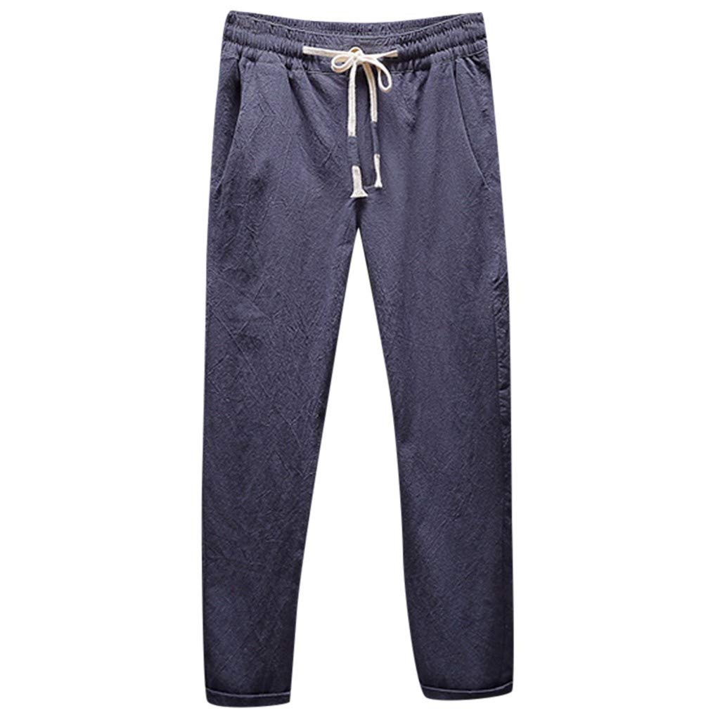 EvaFAST Mens Loose Long Pants Linen Breathable Mid-Rise Straight Casual Fashion Solid Color Elastic Waist Trousers