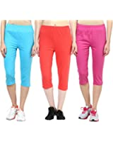 Espresso Women's Casual Cotton 3/4th Capri Pants - A Pack of 3 - Royal Blue/Red/Black