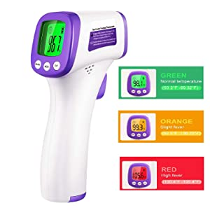Thermometer(Stock in US), Non-Contact Infrared Thermometer for Adults and Children, ˚C/˚F Adjustable- Fever Alert Function, for Body, Surface and Room, for Medical USE