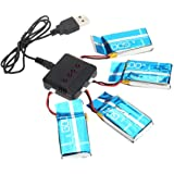 Haibei Drone RC 4 PCS 3.7V 600mAh Batteria Lipo Battery e Caricatore 1PC x5C X5 Qualificati Per Syma Quadrocopter