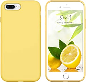 GUAGUA iPhone 8 Plus Case iPhone 7 Plus Case Liquid Silicone Slim Thin Soft Gel Rubber Microfiber Lining Cushion Texture Cover Shockproof Protective Phone Cases for iPhone 8 Plus/7 Plus Yellow